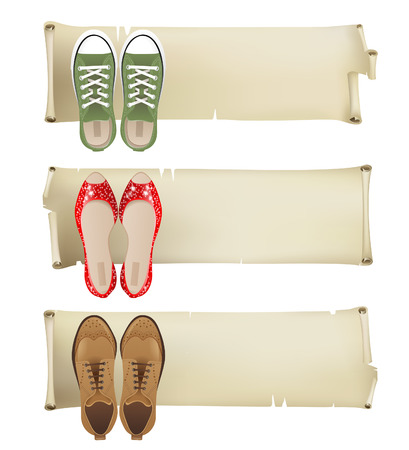 Retro-styled banners with women shoes Stock Vector - 22810870