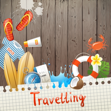 Bright travelling illustration over wooden background Vector