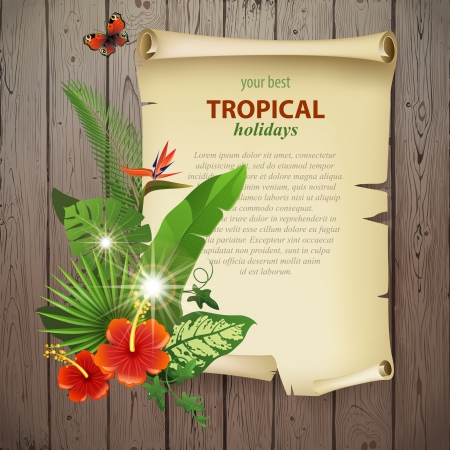 philodendron: Colorful background with tropical plants and flowers for your original designs! Illustration