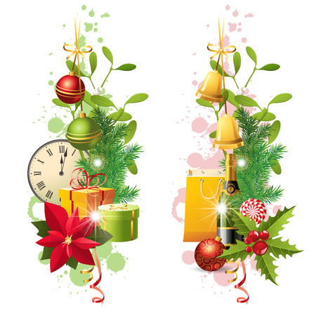 2 bright vertical Christmas borders Vector