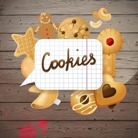 man nuts: Bright creative background with cookies Illustration