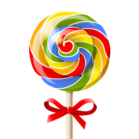lollipop: Bright colorful lollipop over white background