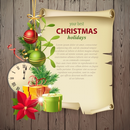 omela: Bright Christmas background with vintage manuscript and place for your text!