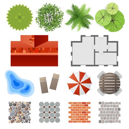 bovenaanzicht plant: Zeer gedetailleerde landscape design elementen - gemakkelijk om uw eigen plan te maken! Stock Illustratie