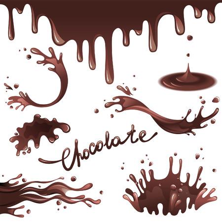 chocolat chaud: �claboussures de chocolat d�finis Illustration