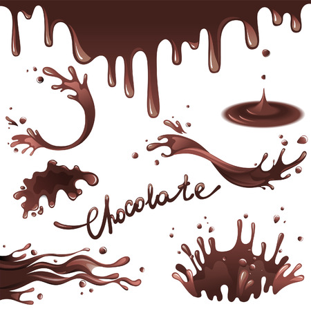 chocolate caliente: Salpicaduras de chocolate endurecido Vectores