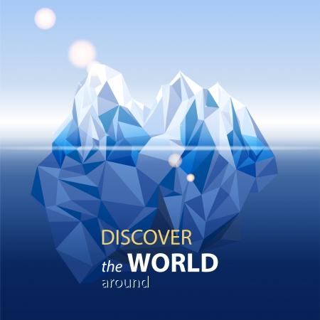 tranquility: Paisaje con el iceberg en el estilo de origami