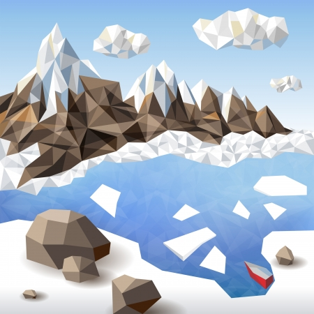 Winter landscape in origami style Vector