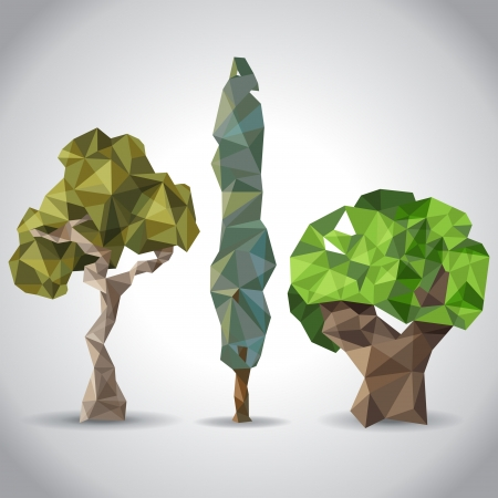 paper origami: Trees icons in origami style Illustration