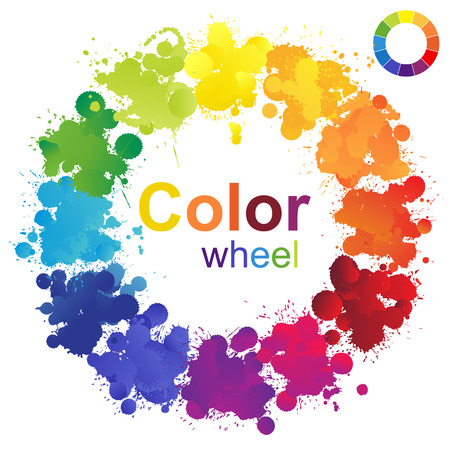 Creative color wheel made from paint splashes Çizim