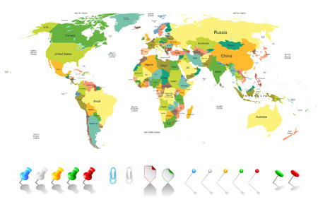 south africa flag: Political world map with infographic elements for your designs