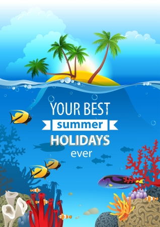 Tropical landscape with island and underwater life Vector