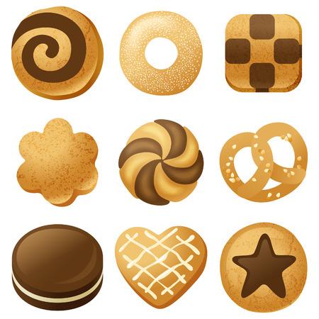 9 sehr detaillierte Cookies Symbole Standard-Bild - 24021892