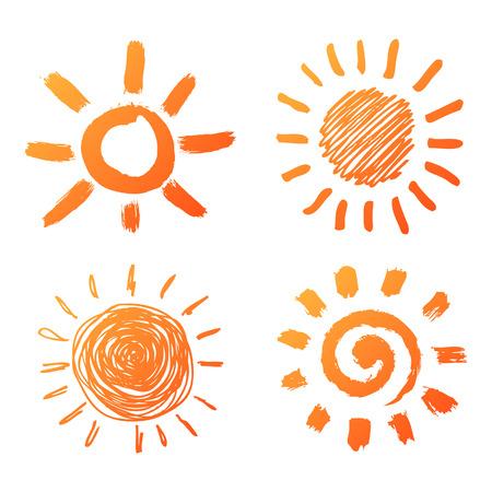 corona: Hand drawn sun icons Illustration