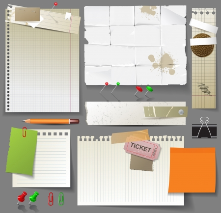 Paper pages, sheets of paper and clips over gray background Vector