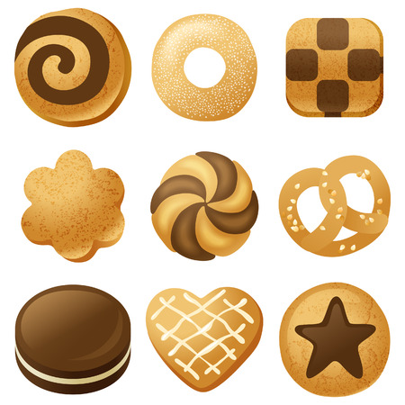 sugar cookies: 9 highly detailed cookies icons Illustration
