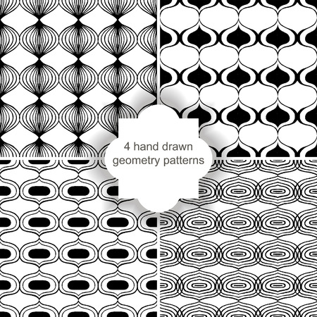 4 hand drawn geometry patterns Stock Vector - 24697464