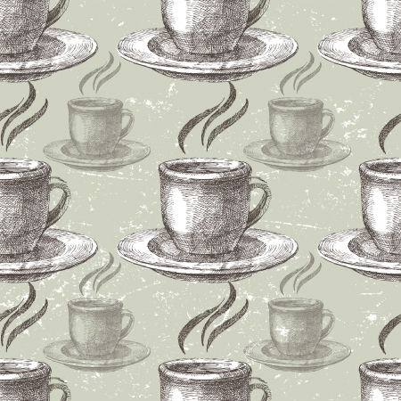 tea set: Hand drawn seamless with white cups