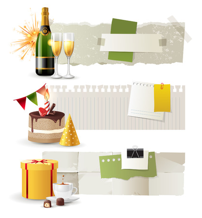 Glasses of champagne and candles: 3 horizontal celebration banners with place for your text Hình minh hoạ