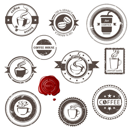coffee stain: Stylized coffee stamps set