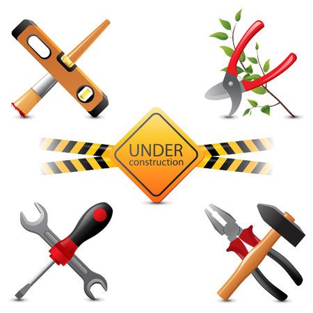 adjustable: 5 bright under construction icons Illustration