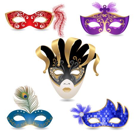 paillette: 5 bright carnival masks  Illustration