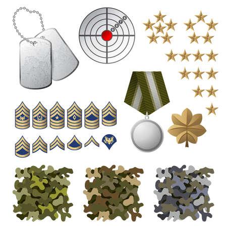 estrellas  de militares: Iconos militares y elementos de dise�o Vectores