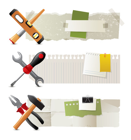 3 paper banners with work tools Vector