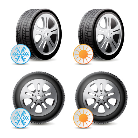 Car wheels with winter and summer tires Vector