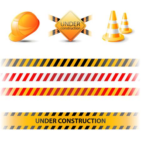 Bajo cintas de construcción y elementos de diseño