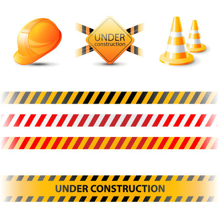Under construction ribbons and design elements Vector