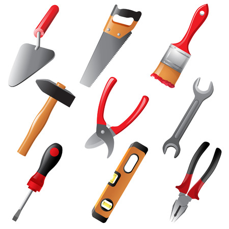adjustable wrench: 9 highly detailed working tools icons