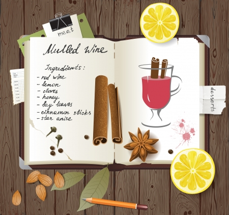 Mulled wine recipe in a cook book Vector