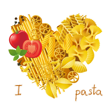 heart made from different types of pasta Vector