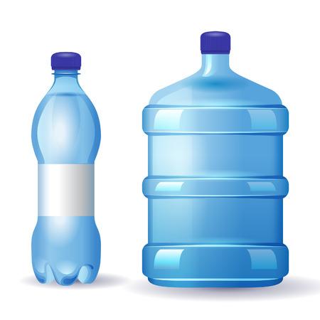 2 water bottles over white background Vetores
