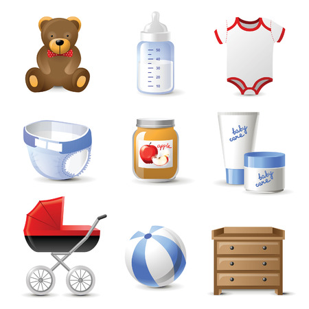 diaper changing table: 9 highly detailed baby icons