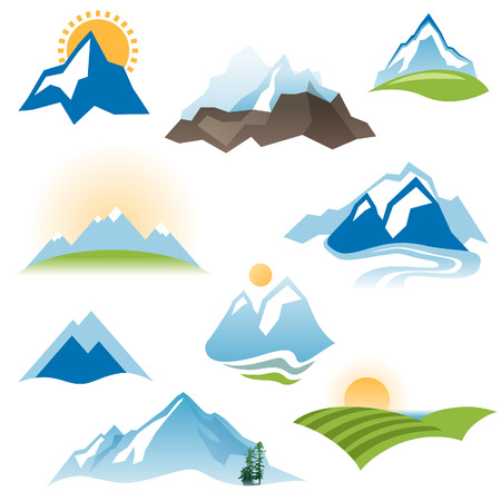 valley: 9 stylized landscape icons over white background Illustration