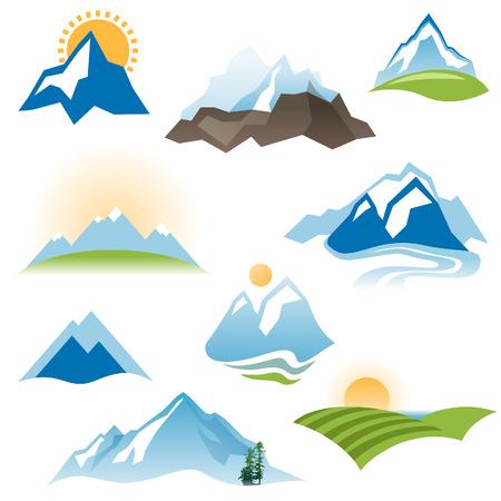 hill range: 9 stylized landscape icons over white background Illustration