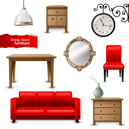 interiors: Highly detailed living room furniture icons Illustration