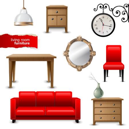 bedside: Highly detailed living room furniture icons Illustration