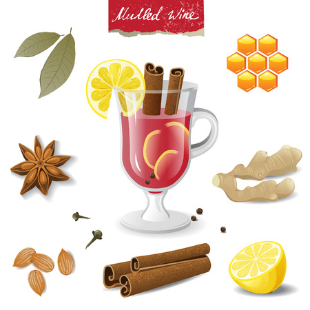 mulled: mulled wine ingredients over white background