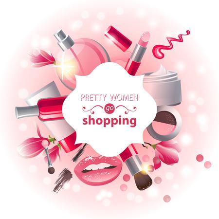 schönheit: Glamouröse Make-up Hintergrund Illustration