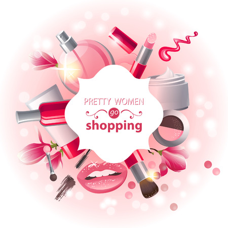 cosmetic product: Glamourous make-up background Illustration