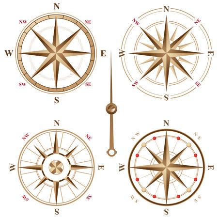 nautical compass: 4 vintage compass icons