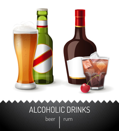 whisky bottle: 2 alcoholic drinks - beer and rum Illustration