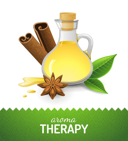 anise: Aroma teraphy icon with oil, cinnamon and anise star Illustration
