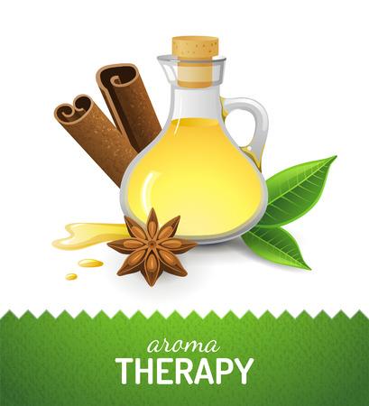 Aroma teraphy Symbol mit Öl, Zimt und Anis-Sterne-