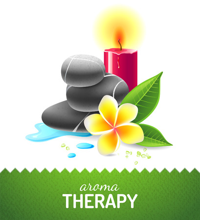 aroma therapy: Aroma therapy icon with oil, cinnamon and anise star