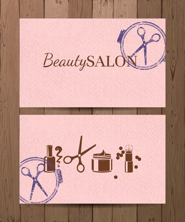 2 pink beauty salon cards Vector