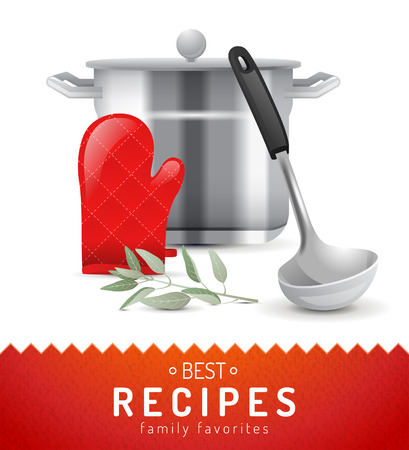 ladle: Cooking background with highly detailed coooking icon Illustration